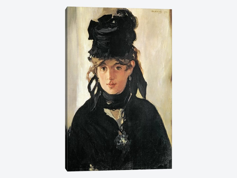 Berthe Morisot With A Bouquet Of Violets, 1872 by Edouard Manet 1-piece Canvas Wall Art