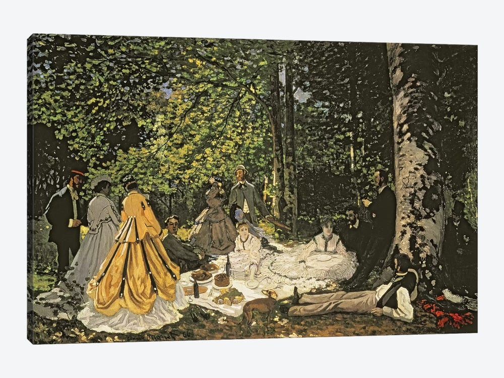 Le Dejeuner sur l'Herbe, 1865-1866  by Claude Monet 1-piece Canvas Print