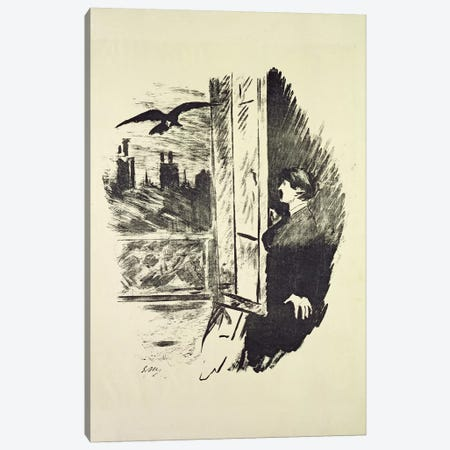 "Illustration I For ""The Raven"" By Edgar Allan Poe, 1875 Canvas Print #BMN7021} by Edouard Manet Canvas Artwork"