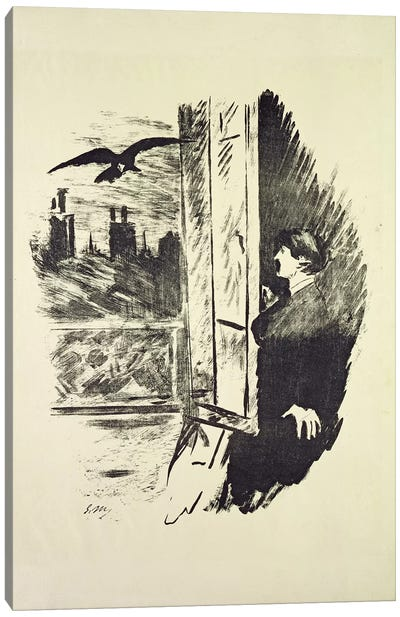 "Illustration I For ""The Raven"" By Edgar Allan Poe, 1875 Canvas Art Print"