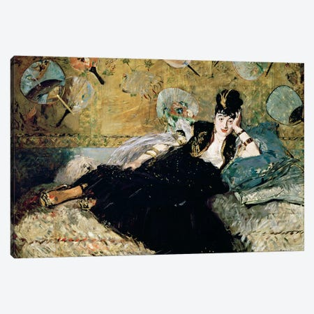 The Lady With Fans (Portrait Of Nina de Callias), c.1873-74 Canvas Print #BMN7029} by Edouard Manet Canvas Artwork