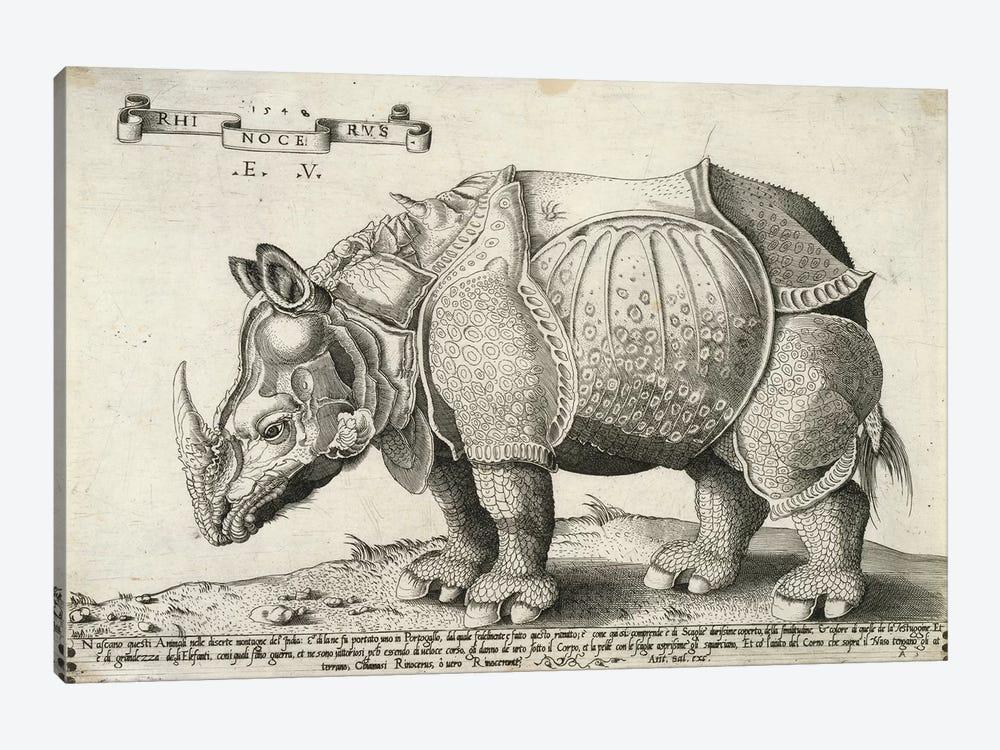Rhinoceros, 1548 by Enea Vico 1-piece Canvas Print