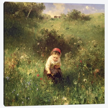 A Young Girl in a Field Canvas Print #BMN703} by Ludwig Knaus Art Print