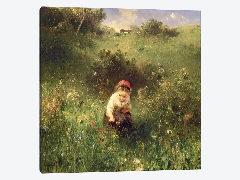 A Young Girl in a Field by Ludwig Knaus 1-piece Canvas Art Print