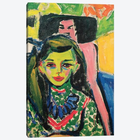 Portrait Of Franzi In Front Of Carved Chair, 1910 Canvas Print #BMN7040} by Ernst Ludwig Kirchner Canvas Wall Art