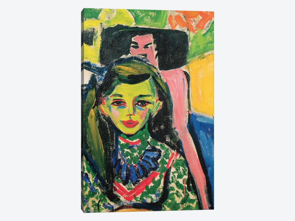 Portrait Of Franzi In Front Of Carved Chair, 1910 by Ernst Ludwig Kirchner 1-piece Canvas Art Print