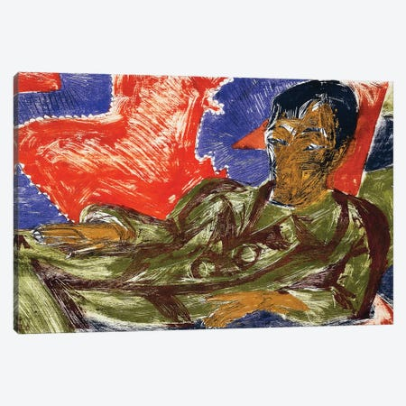 Portrait Of The Painter Otto Mueller, 1915 Canvas Print #BMN7041} by Ernst Ludwig Kirchner Canvas Artwork