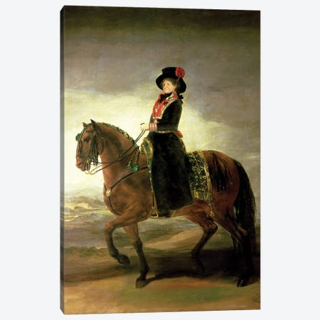Equestrian Portrait Of Queen Maria Luisa (Wife Of King Charles IV Of Spain), 1799 Canvas Print #BMN7045} by Francisco Goya Art Print