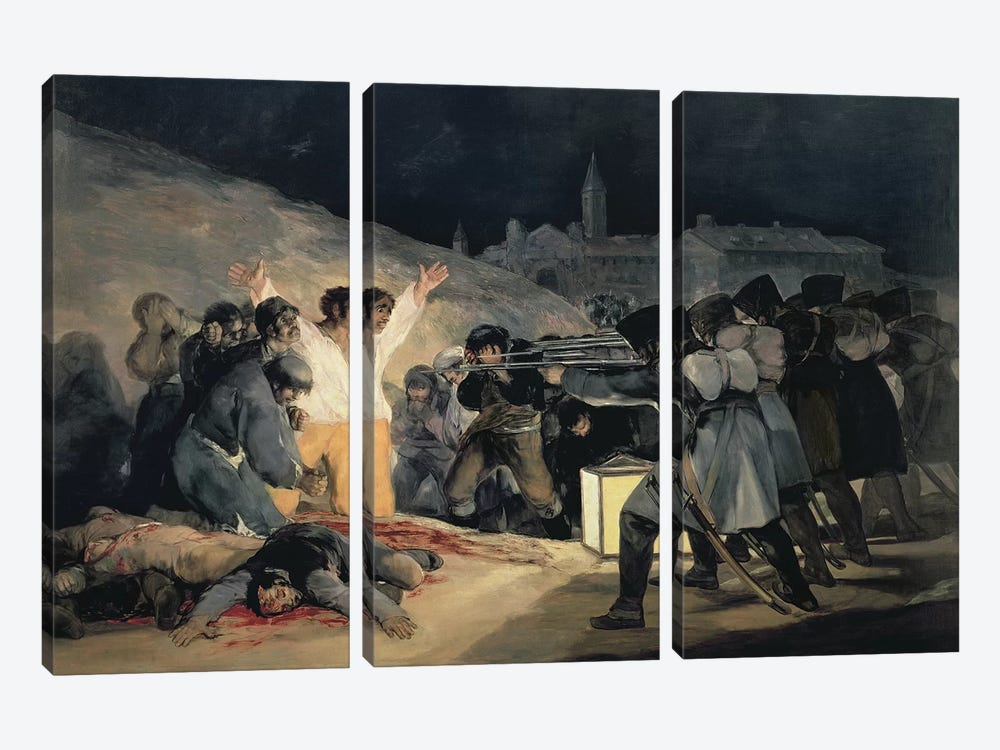 Execution Of The Defenders Of Madrid (3rd May, 1808), 1814 by Francisco Goya 3-piece Canvas Art Print