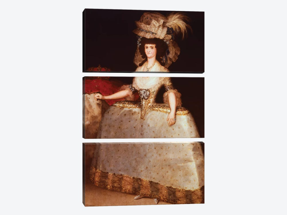 Portrait Of Maria Luisa Of Parma (Queen Consort Of Charles IV, King Of Spain), 1789 by Francisco Goya 3-piece Canvas Artwork