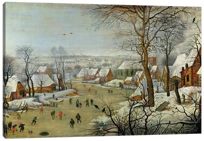 Winter Landscape with Skaters and a Bird Trap Canvas Art Print