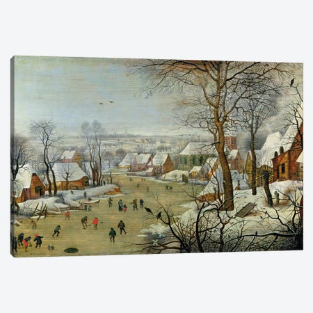 Winter Landscape with Skaters and a Bird Trap Canvas Print #BMN704} by Pieter Brueghel the Younger Canvas Art