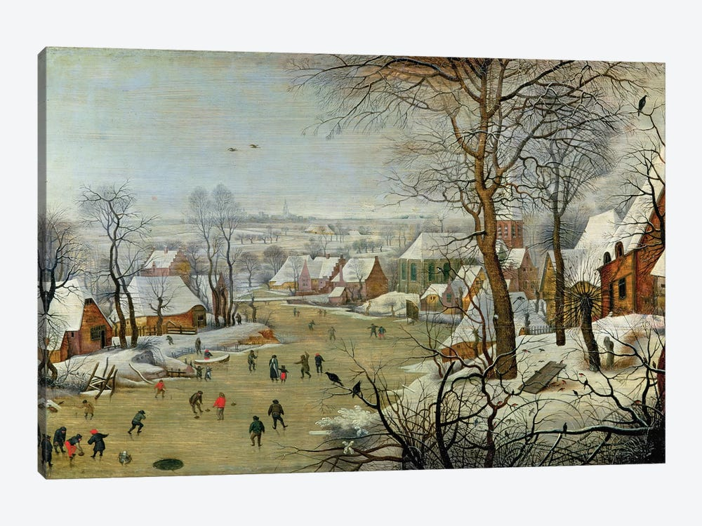 Winter Landscape with Skaters and a Bird Trap by Pieter Brueghel the Younger 1-piece Canvas Artwork