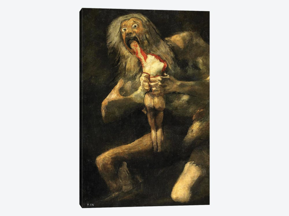 Saturn Devouring One Of His Sons, 1821-23 by Francisco Goya 1-piece Canvas Art