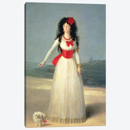 Duchess Of Alba (The White Duchess), 1795 Canvas Print #BMN7054} by Francisco Goya Canvas Wall Art