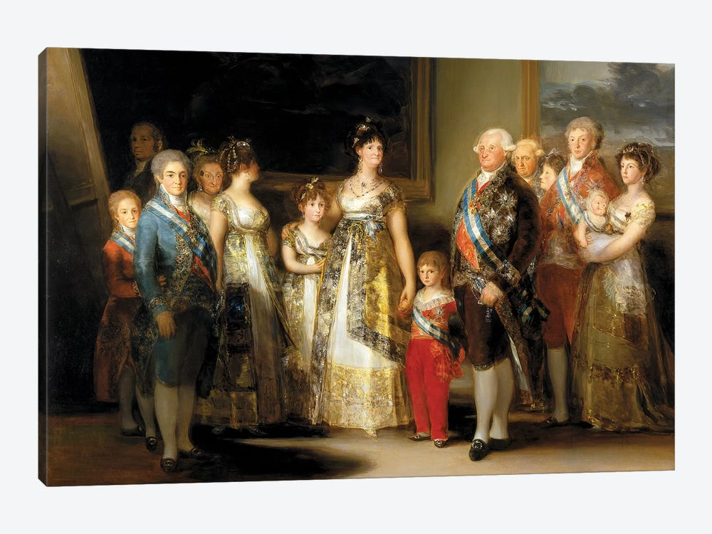 The King And Queen Of Spain (Charles IV And Maria Luisa), With Their Family, 1800 by Francisco Goya 1-piece Canvas Art