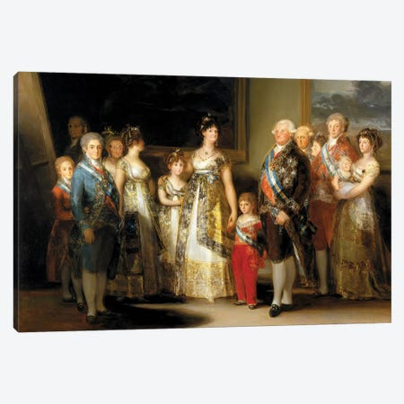 The King And Queen Of Spain (Charles IV And Maria Luisa), With Their Family, 1800 Canvas Print #BMN7058} by Francisco Goya Canvas Art Print