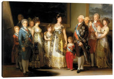 The King And Queen Of Spain (Charles IV And Maria Luisa), With Their Family, 1800 Canvas Art Print