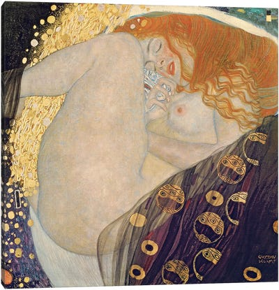 Danae, 1907-08 by Gustav Klimt Canvas Art Print