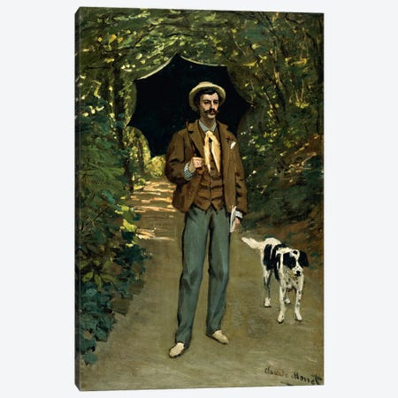Man with an Umbrella, c.1868-69  Canvas Print #BMN707} by Claude Monet Canvas Artwork
