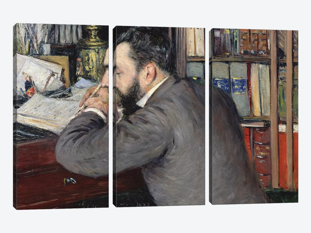 Portrait Of Henri Cordier (Teacher At The School Of Oriental Languages), 1883 by Gustave Caillebotte 3-piece Canvas Print