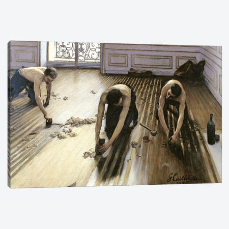 The Parquet Planers, 1875 Canvas Print #BMN7083} by Gustave Caillebotte Canvas Artwork