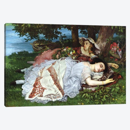 Girls On The Banks Of The Seine, 1856-57 Canvas Print #BMN7086} by Gustave Courbet Canvas Print
