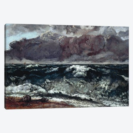 The Wave (Die Welle), 1870 (Alte Nationalgalerie) Canvas Print #BMN7089} by Gustave Courbet Canvas Artwork