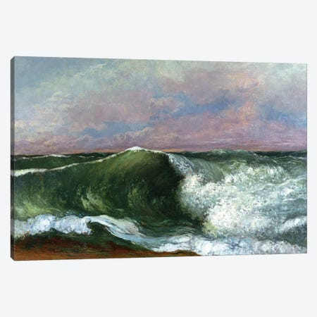 The Wave, 1870 (Private Collection) 3-Piece Canvas #BMN7093} by Gustave Courbet Canvas Print