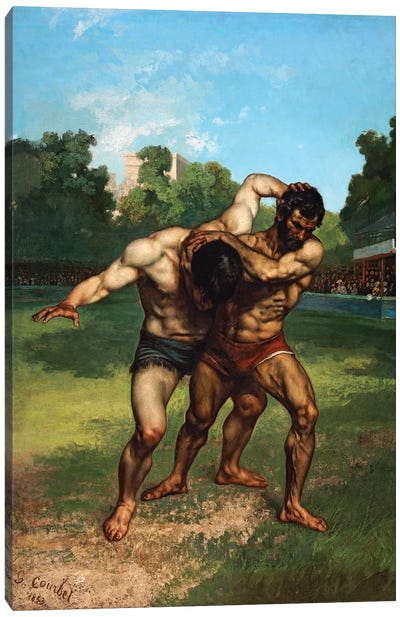 The Wrestlers, 1853 Canvas Art Print