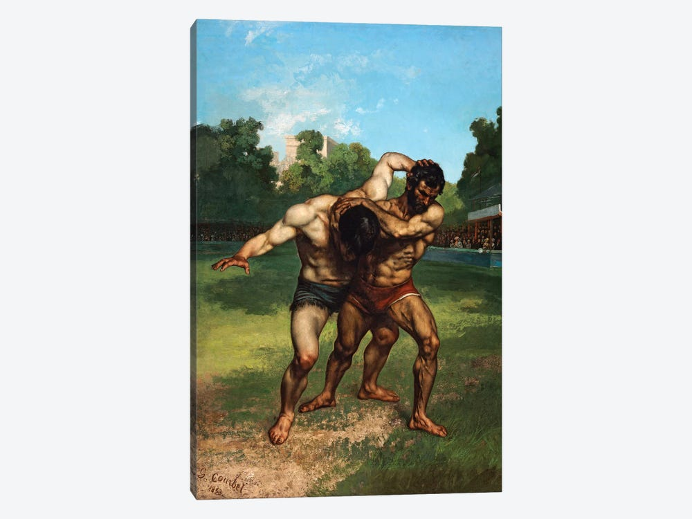 The Wrestlers, 1853 by Gustave Courbet 1-piece Canvas Print