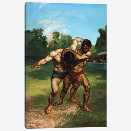 The Wrestlers, 1853 Canvas Print #BMN7095} by Gustave Courbet Canvas Wall Art