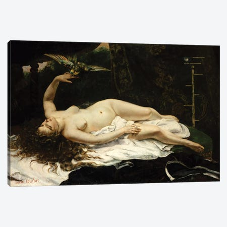 Woman With A Parrot, 1866 Canvas Print #BMN7096} by Gustave Courbet Canvas Artwork