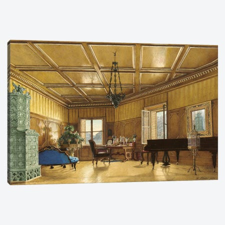 The Music Room Of Archduchess Margarete (Princess Of Saxony), In Schloss Ambras, 1870-79 Canvas Print #BMN7097} by Heinrich von Forster Canvas Wall Art