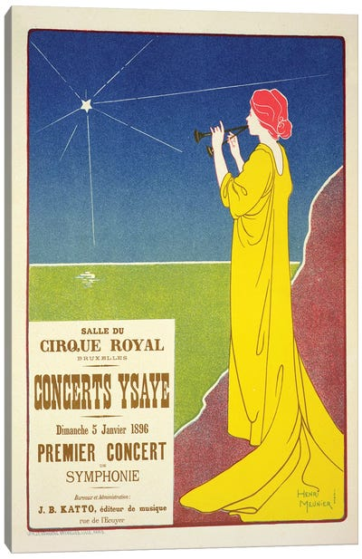 Concerts Ysaye At The Salle du Cirque Royal Advertisement, 1895 Canvas Art Print