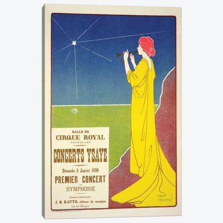 Concerts Ysaye At The Salle du Cirque Royal Advertisement, 1895 Canvas Print #BMN7101} by Henri Meunier Art Print