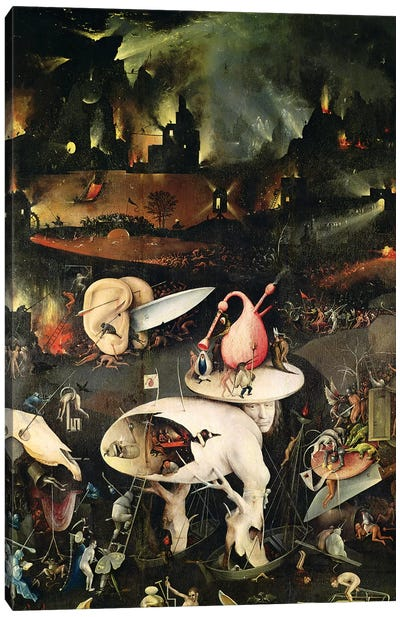 Detail Of Hell, Top Half Of The Right Panel, The Garden Of Earthly Delights, 1490-1500 Canvas Art Print