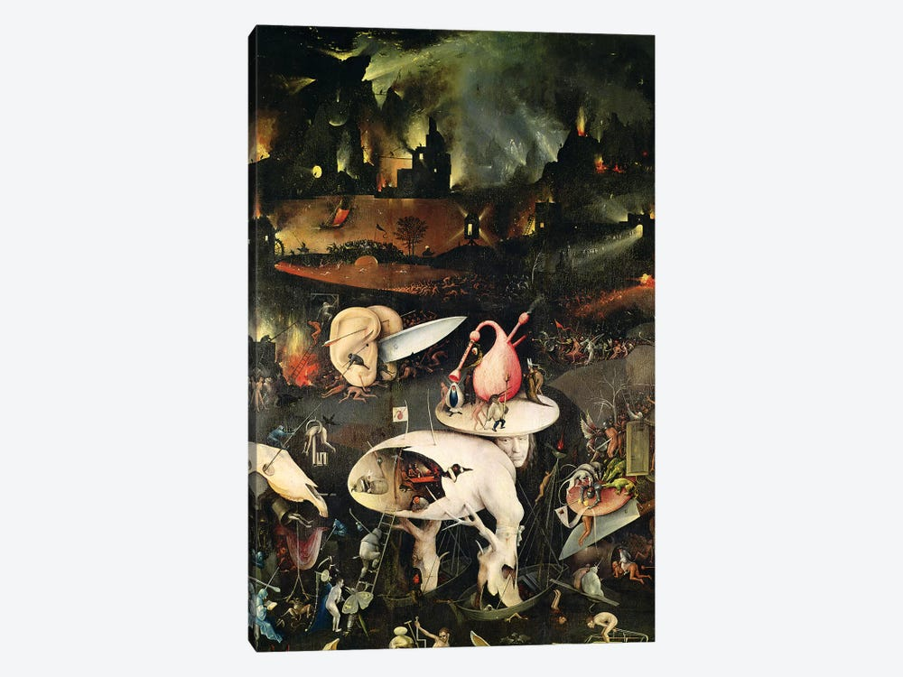 Detail Of Hell, Top Half Of The Right Panel, The Garden Of Earthly Delights, 1490-1500 by Hieronymus Bosch 1-piece Canvas Wall Art