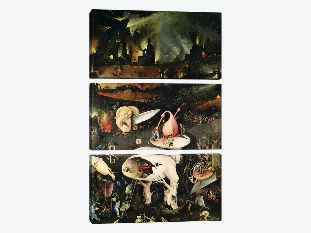 Detail Of Hell, Top Half Of The Right Panel, The Garden Of Earthly Delights, 1490-1500 by Hieronymus Bosch 3-piece Canvas Wall Art