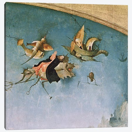 Detail Of St. Anthony Carried Into The Sky By Demons, Left Panel, Triptych Of Temptation Of St. Anthony Canvas Print #BMN7105} by Hieronymus Bosch Canvas Wall Art