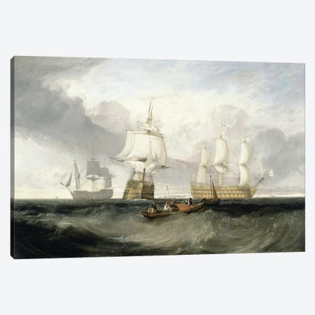 "The ""Victory"" Returning From Trafalgar, 1806 Canvas Print #BMN7113} by J.M.W. Turner Canvas Artwork"
