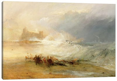 Wreckers - Coast Of Northumberland, With A Steam Boat Assisting A Ship Off Shore, 1834 Canvas Art Print