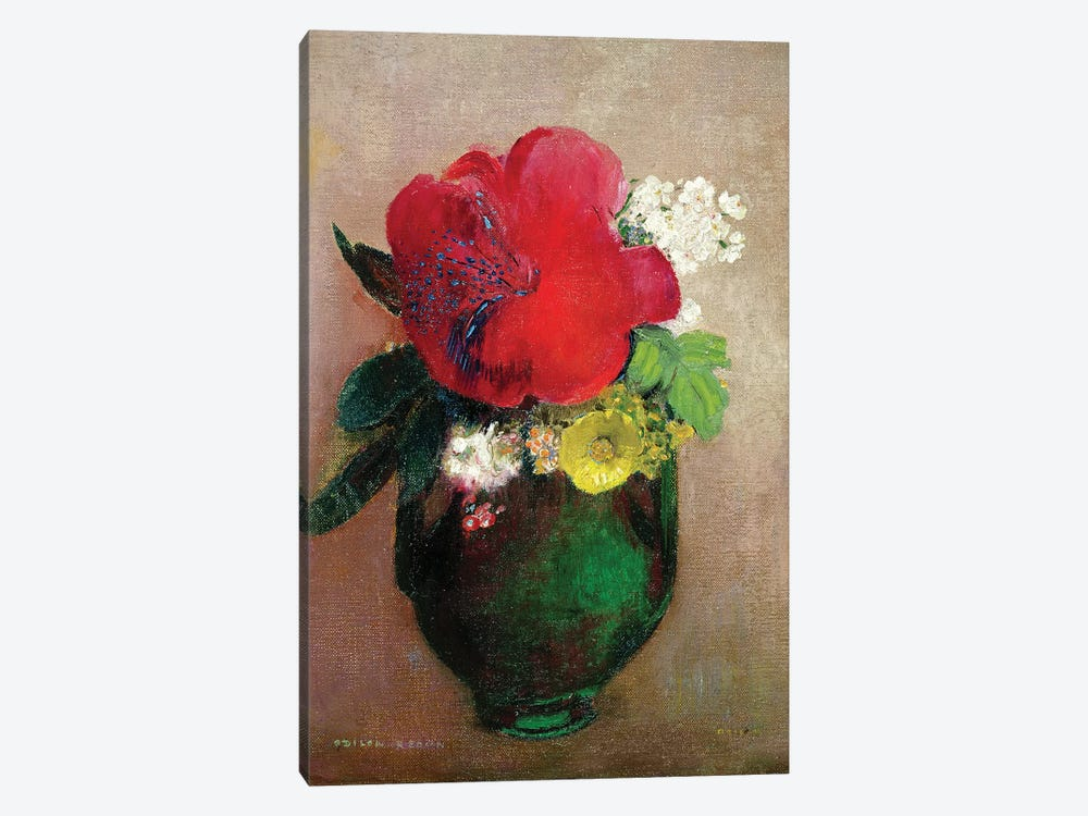 The Red Poppy  by Odilon Redon 1-piece Canvas Art