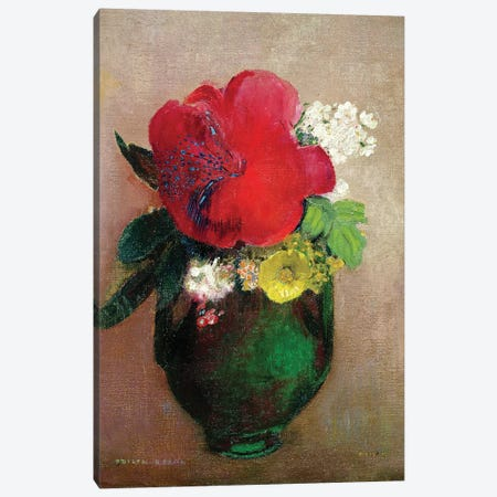 The Red Poppy  Canvas Print #BMN711} by Odilon Redon Canvas Art