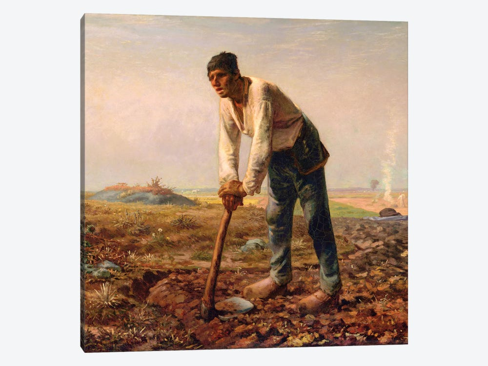 Man With A Hoe, c,1860-62 by Jean-Francois Millet 1-piece Canvas Artwork
