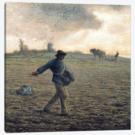 The Sower (Private Collection) Canvas Print #BMN7122} by Jean-Francois Millet Canvas Art Print