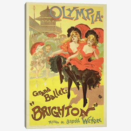 "The Grand Ballet Presents ""Brighton"" At L'Olympia Advertisment, 1893 Canvas Print #BMN7124} by Jean Paleologu Canvas Art"