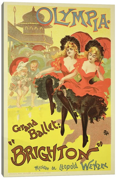 """The Grand Ballet Presents """"Brighton"""" At L'Olympia Advertisment, 1893 Canvas Art Print"""