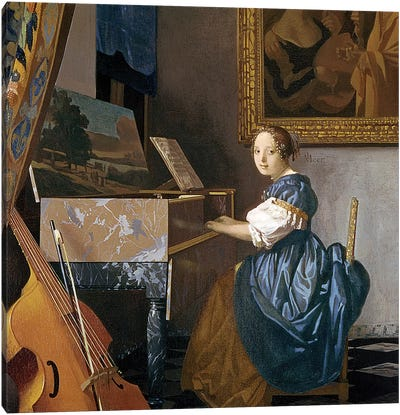 A Young Lady Seated At A Virginal, c.1670 by Johannes Vermeer Canvas Art Print