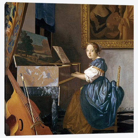 A Young Lady Seated At A Virginal, c.1670 Canvas Print #BMN7125} by Johannes Vermeer Canvas Art
